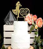 Топпер свадебная пара Mr&Mrs, топперы на свадьбу, свадебная пара в блестках, Топпер с инициалами и датой, фото 2
