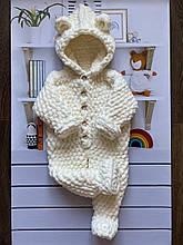 Детский вязаный мягкий плюшевый комбинезониз гипоаллергенной пряжи для девочки и мальчика ручной работы.