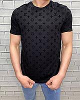 Брендовая мужская футболка Louis Vuitton Черный С логотипом Футболки и майки мужские Луи Витон