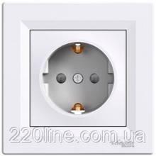 Розетка с заземлением и защитными шторками Schneider Electric Asfora Белый EPH2900221