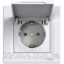Розетка с крышкой и заземлением Schneider Electric Asfora Белый EPH3100121