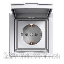 Розетка с крышкой, заземлением и защитными шторками Schneider Electric Asfora IP44 Белый EPH3100321