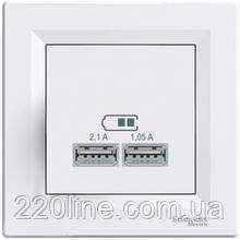 Розетка USB 2.1A Schneider Electric Asfora Белый EPH2700221