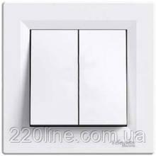 Выключатель двуклавишный Schneider Electric Asfora Белый EPH0300121