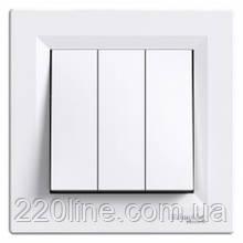 Выключатель 3-клавишный Schneider Electric Asfora Белый EPH2100121