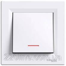 Выключатель одноклавишный с подсветкой Schneider Electric Asfora Белый EPH1400121