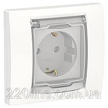 Розетка з з/к, шторками прозорою кришкою IP44, білий UNICA NEW NU003718