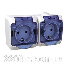 Розетка Schneider-Electric Cedar Plus двойная с заземлением и з/шторками IP44 16А белый, WDE000525