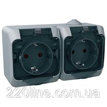 Розетка Schneider-Electric Cedar Plus двойная с заземлением и з/шторками IP44 16А серый, WDE000625