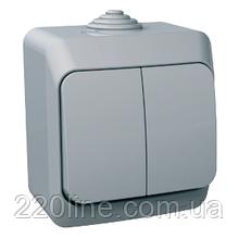 Выключатель Schneider-Electric Cedar Plus 2-клавишный IP44 16A серый, WDE000650