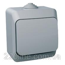Переключатель проходной Schneider-Electric Cedar Plus 1-клавишный IP44 16A серый, WDE000660