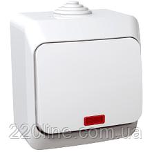 Выключатель Schneider-Electric Cedar Plus 1-клавишный с подсветкой IP44 16А белый, WDE000514