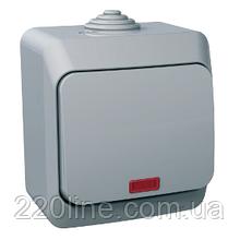 Выключатель Schneider-Electric Cedar Plus 1-клавишный с подсветкой IP44 16А серый, WDE000614