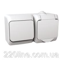 Розетка + выключатель Schneider-Electric Cedar Plus с заземлением и и з/шторками IP44 16А белый, WDE000500