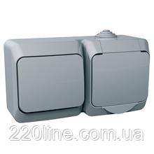 Розетка + выключатель Schneider-Electric Cedar Plus с заземлением и и з/шторками IP44 16А серый, WDE000600