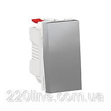 Вимикач 1-клавішний кнопковий схема 1, 10А, 1 модуль алюміній UNICA NEW NU310630