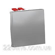 Перемикач 1-клавішний перехресний схема 7, 10А, 2 модулі алюміній UNICA NEW NU320530