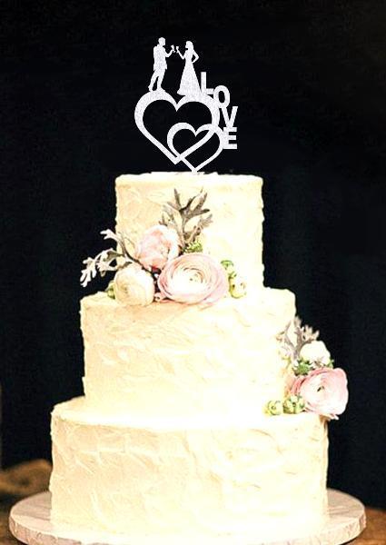 Свадебный топпер Силуэты молодожен на сердце LOVE Пластиковые топперы Топперы в блестках Топперы на заказ