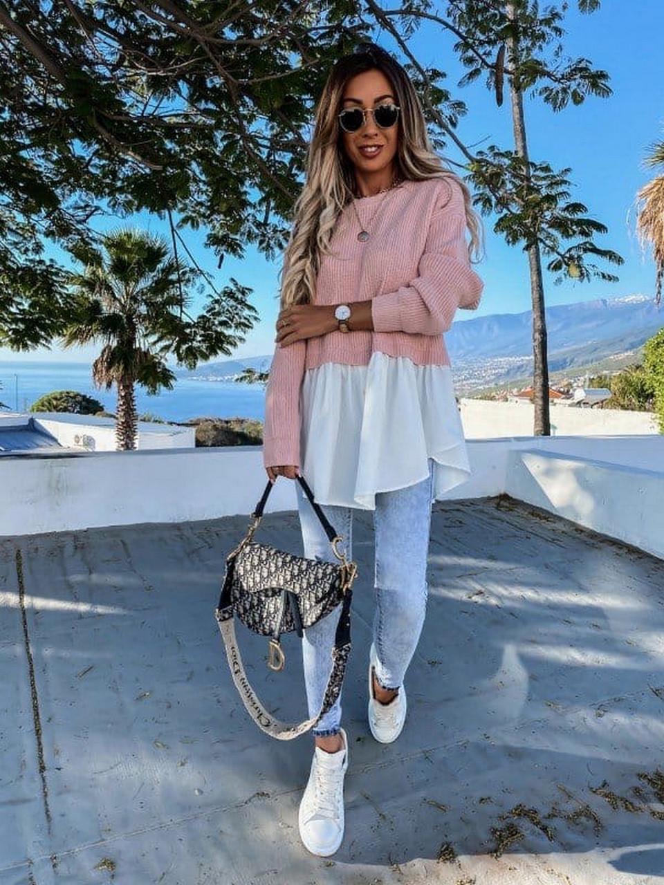 Стильна і модна модель жіночої светр-туніки з довгим рукавом, 00022 (Пудра), Розмір 46 (L)