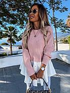 Стильна і модна модель жіночої светр-туніки з довгим рукавом, 00022 (Пудра), Розмір 46 (L), фото 3