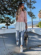 Стильна і модна модель жіночої светр-туніки з довгим рукавом, 00022 (Пудра), Розмір 46 (L), фото 4