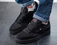 Чоловічі кросівки Reebok Workout Чорні Замшеві, Репліка, фото 1
