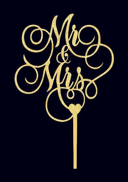 Золотий топпер Mr&Mrs ажурним шрифтом Пластикові топпери Топпери в блискітках Топпери на замовлення