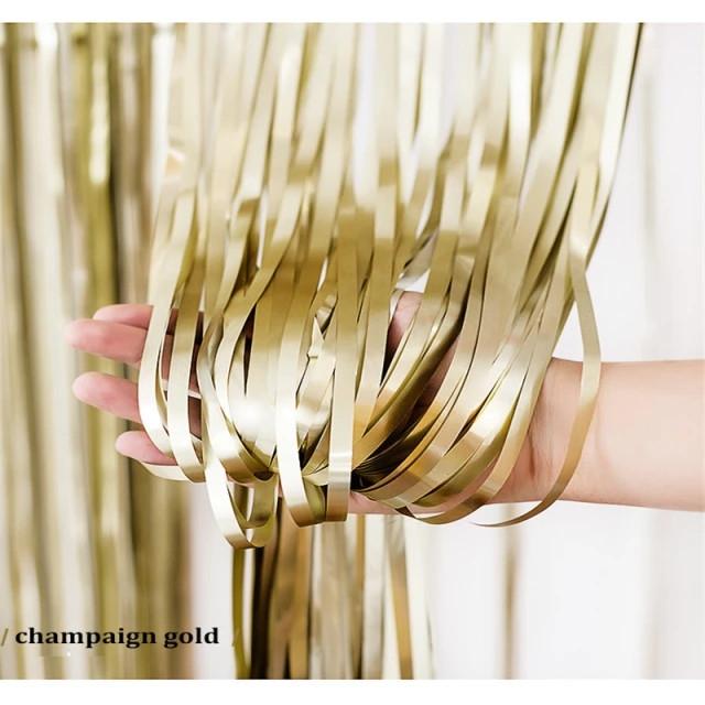 Шторка фольгированная из дождика шампанское  1х3 м