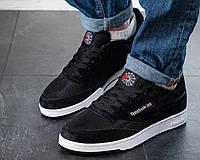 Мужские кроссовки Reebok Workout Черные Замшевые, Реплика, фото 1