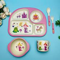 Набор детской посуды бамбуковый 5 приборов Принцесса Stenson