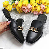 Шльопанці - мюли жіночі чорні з ланцюжком натуральна шкіра, фото 10