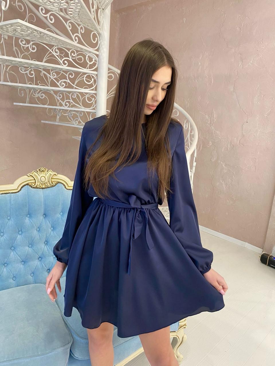 Легкое шелковое платье юбка клеш с поясом, 00522 (Темно-синий), Размер 44 (M)