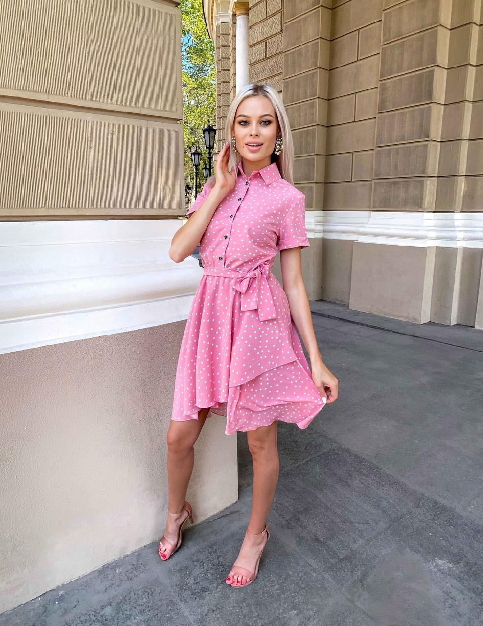 Женское весеннее платье из принтованного софта, 00537 (Розовый), Размер 46 (L)