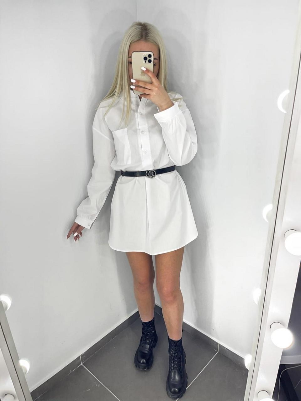 Женское платье-рубашка с длинным рукавом из коттона, 00528 (Белый), Размер 46 (L)