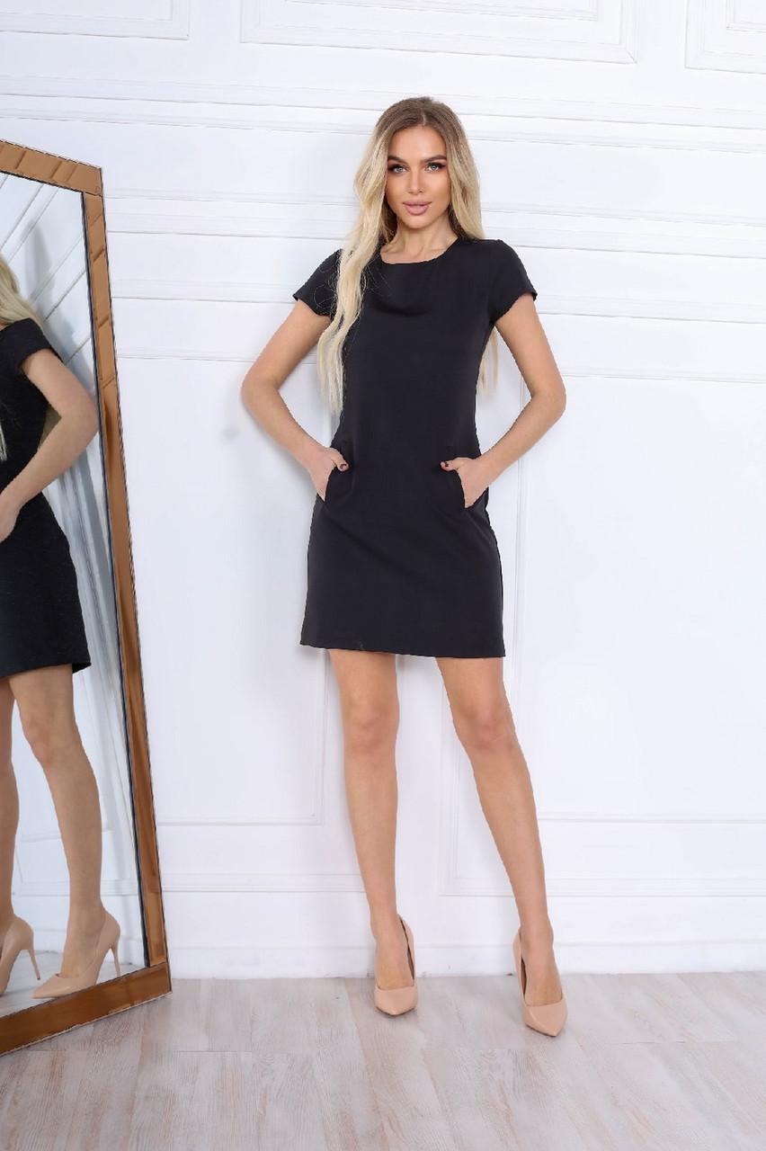 Стильне коротке плаття по фігурі з кишенями, 00671 (Чорний), Розмір 44 (M)