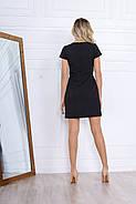 Стильне коротке плаття по фігурі з кишенями, 00671 (Чорний), Розмір 44 (M), фото 4