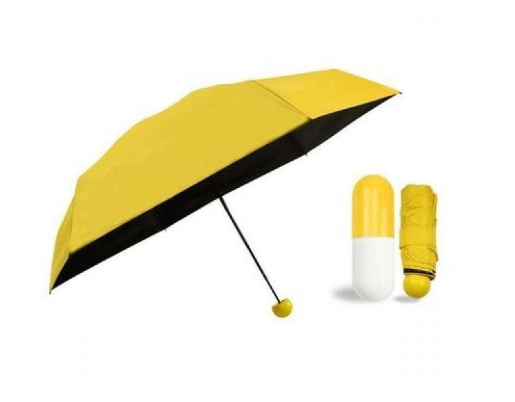 Компактный зонт капсула / Мини зонтик в капсуле / Маленький складной зонт в футляре, чехле Желтый