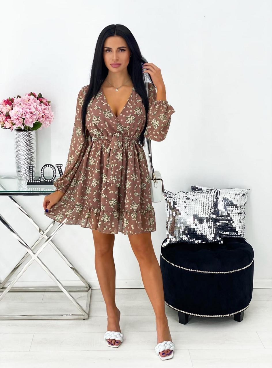 Элегантное шифоновое платье на подкладке, 00547 (Бежевый), Размер 44 (M)