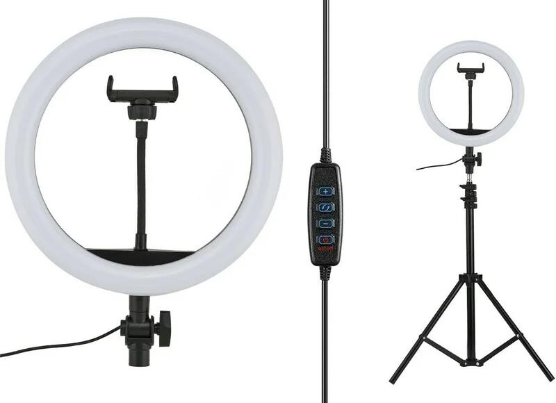 Кільцева LED лампа 30 см на штативі з тримачем для телефону (штатив 2,1 метра)