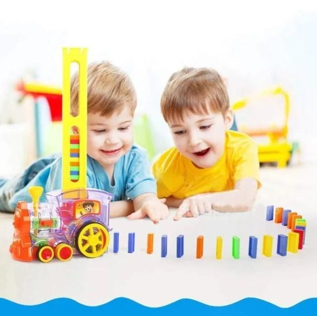Развивающая игрушка паровозик домино DOMINO Happy Truck 100 деталей / Поезд домино