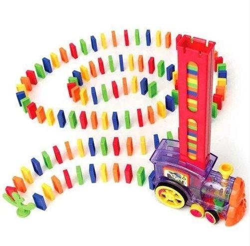 Розвиваюча іграшка паровозик доміно DOMINO Happy Truck 100 деталей / Поїзд доміно