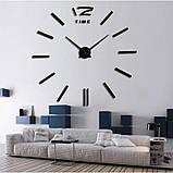Большие настенные 3Д часы 3D часы DIY Clock 60-120 см (Черные), фото 3