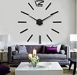 Большие настенные 3Д часы 3D часы DIY Clock 60-120 см (Черные), фото 6