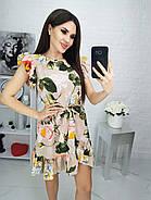 Классическое летнее женское платье с короткими рукавами рюш, 00693 (Зеленый), Размер 46 (L), фото 4