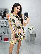 Класичне літнє жіноче плаття з короткими рукавами рюш, 00693 (Зелений), Розмір 46 (L), фото 5