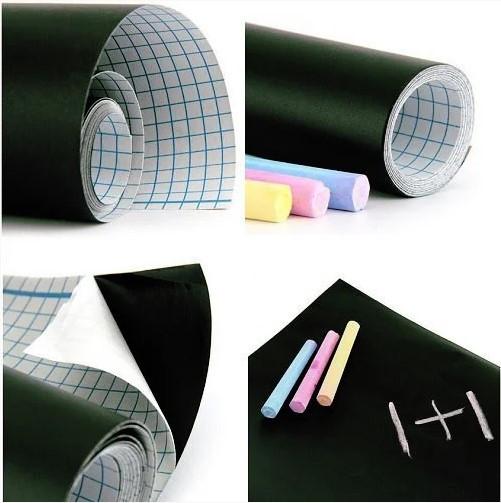 Самоклеюча дошка для малювання крейдою стікер, чорна, 200х60 см, 5шт крейди у комплекті