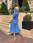 Летнее котоновое платье миди на пуговицах по всей длине, 00543 (Голубой), Размер 44 (M), фото 2