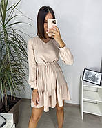 Жіноче весняне плаття, тканина креп (жатка), 00558 (Бежевий), Размер 44 (M), фото 2