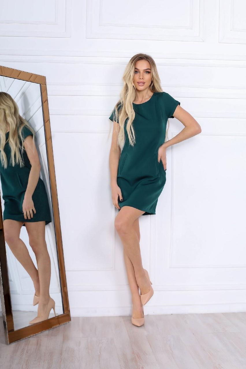 Удобное женское платье прямого кроя на каждый день, 00672 (Бутылочный), Размер 48 (XL)