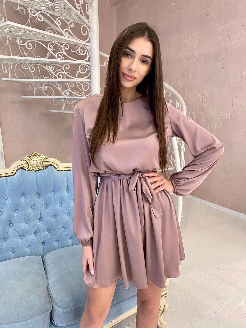 Шикарне міні шовкове плаття, 00518 (Мокко), Размер 44 (M)